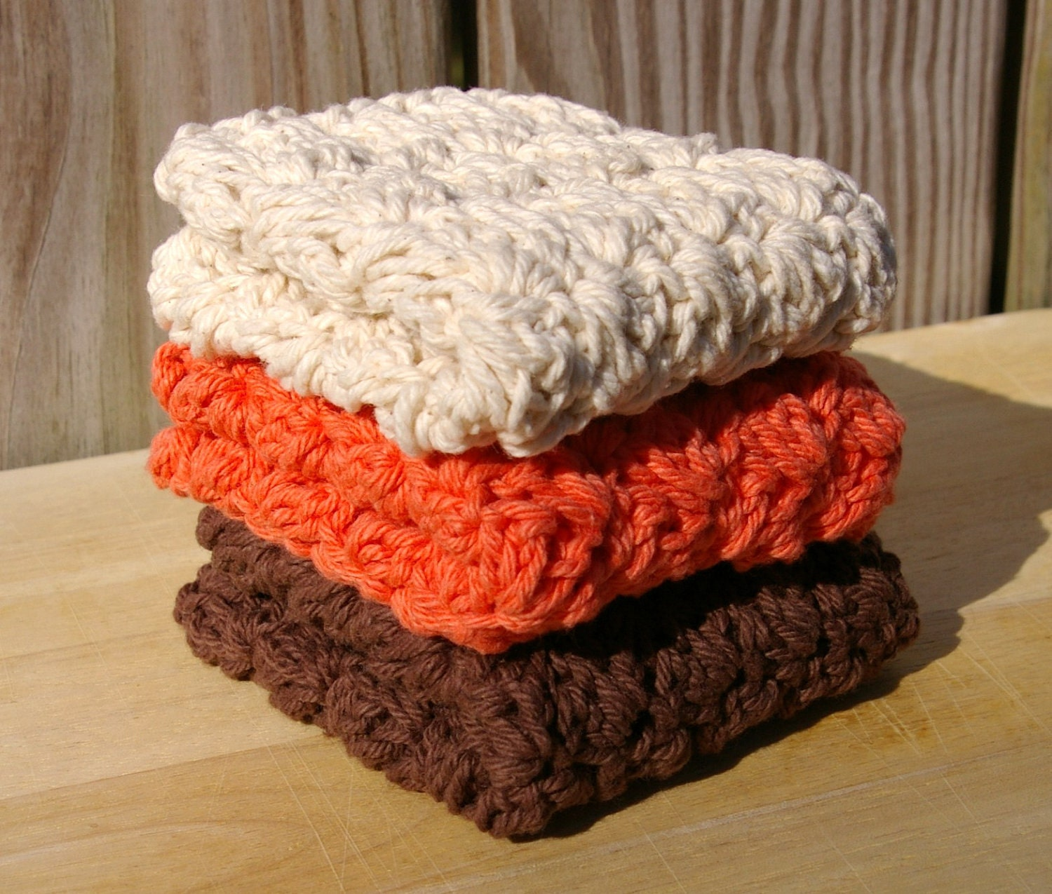 Crochet Dishcloths Cotton in Autumn Fall Brown, Ecru, Tangerine - CandacesCloset