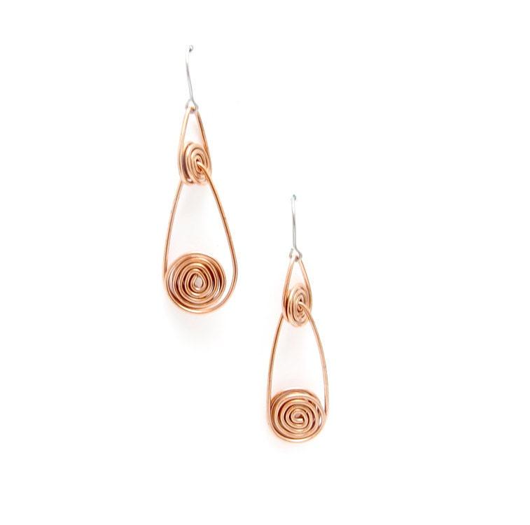 Long Copper Drop Earrings - Copper Wire Earrings - Contemporary Copper Earrings - Polished Copper Earrings - Copper Dangle Earrings - Drops - leanderdambrosia