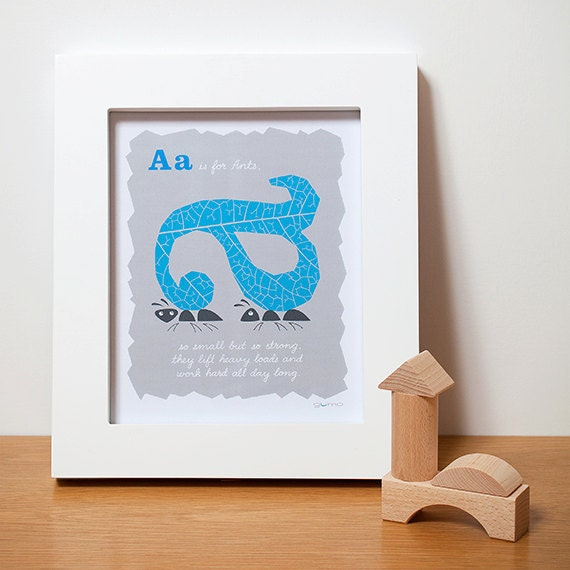 Nursery Decor - Alphabet Letters - Ants - ABC Print - in Blue