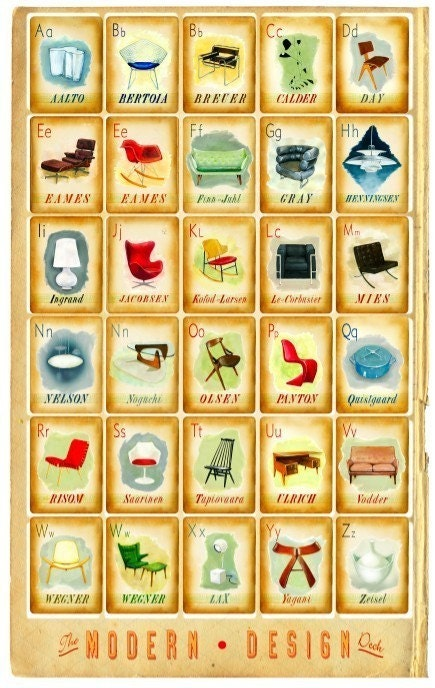 Modern Design Deck Poster - mid century icons