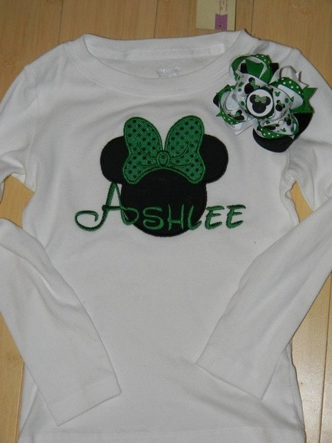 Personalized Mouse St. Patricks Day Applique with Bow