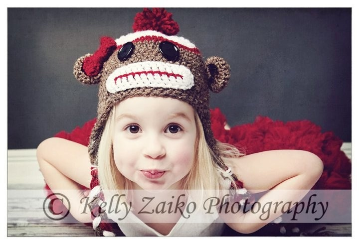 Newborn to Adult size Sock Monkey earflap hat girl/boy