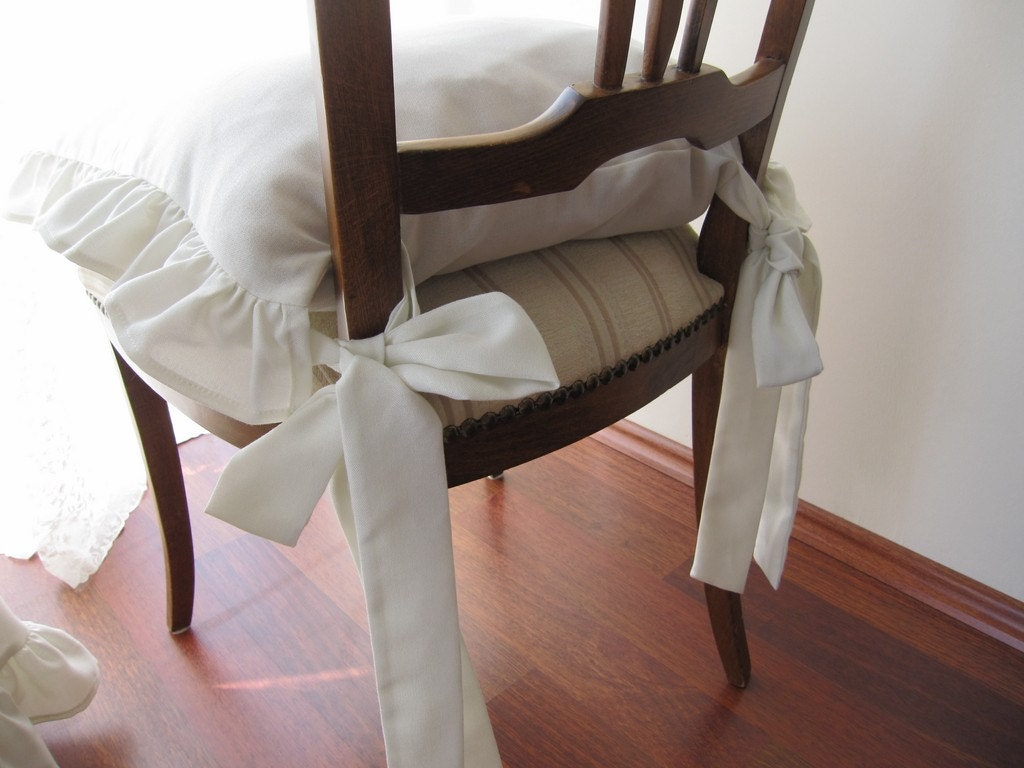 Items similar to ruffled Chair cushions-set of 4 pcs 14 inch 3 sides ruffle with long ties ...