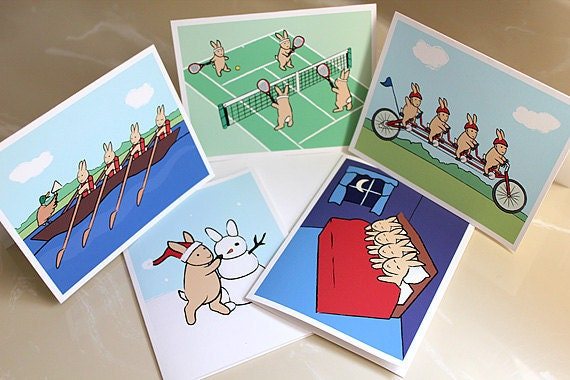 Bunny cards for sale at Etsy
