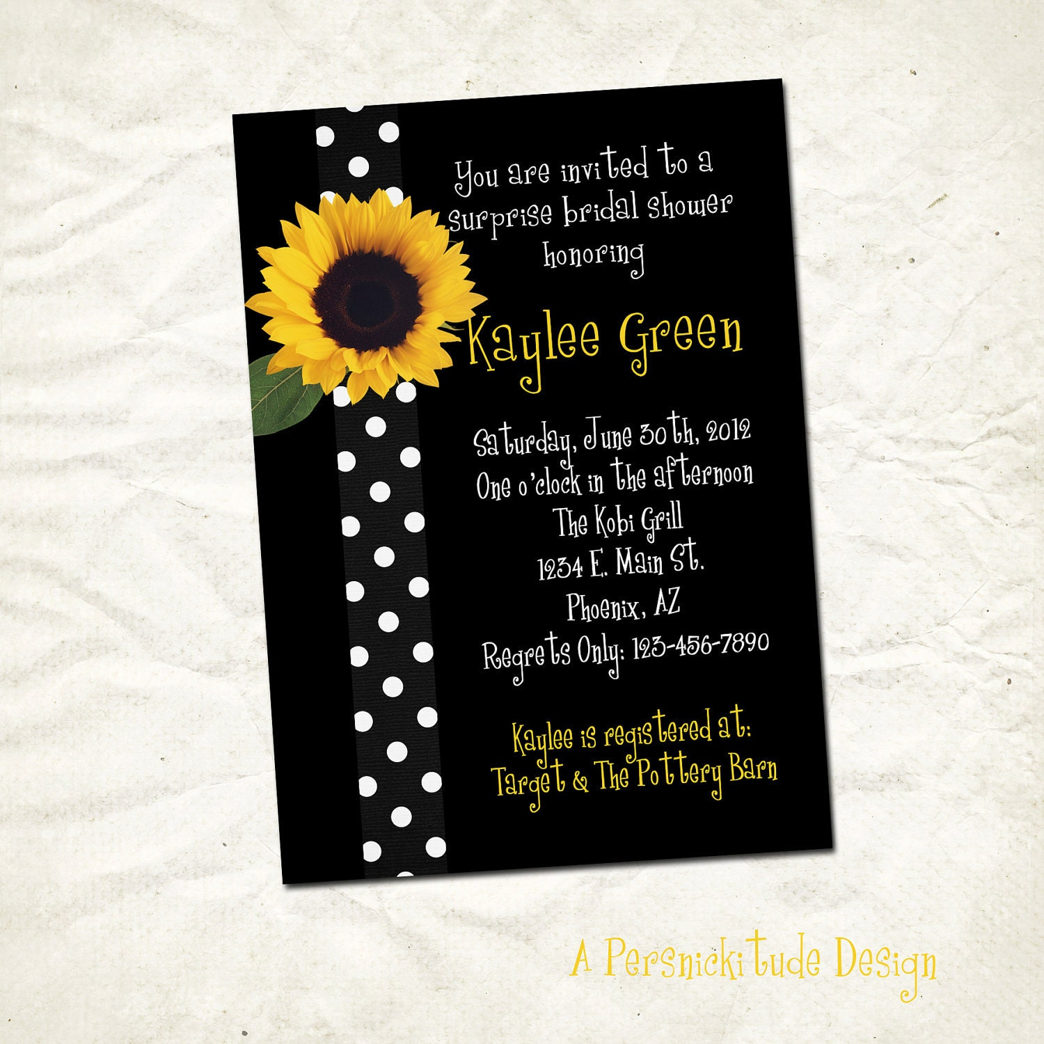 sunflower bridal shower invitation print yourself file