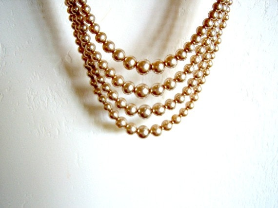 Vintage Champagne Faux Pearls Four Strand Rhinestone - RockySpringsVintage