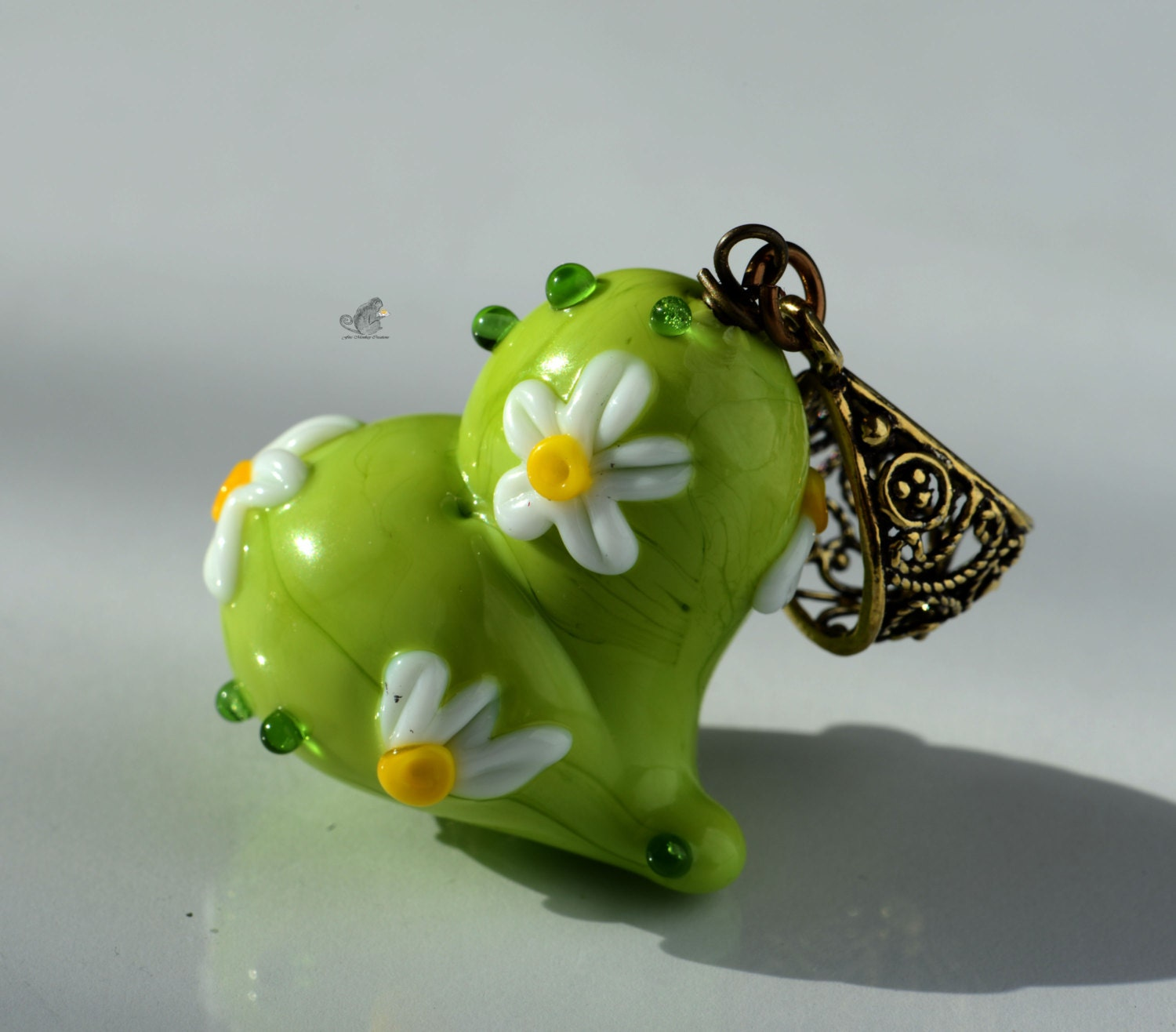 Lampwork Pendant Handmade Glass Jewelry Green and Floral Heart Valentine - FireMonkeyCreations