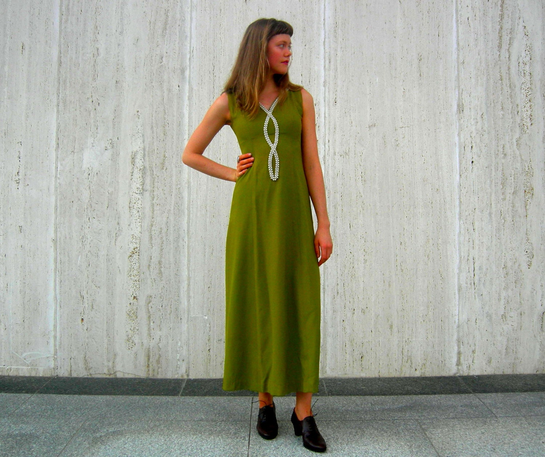 Vintage green dress maxi dress 1970s - SassySenoritaVintage