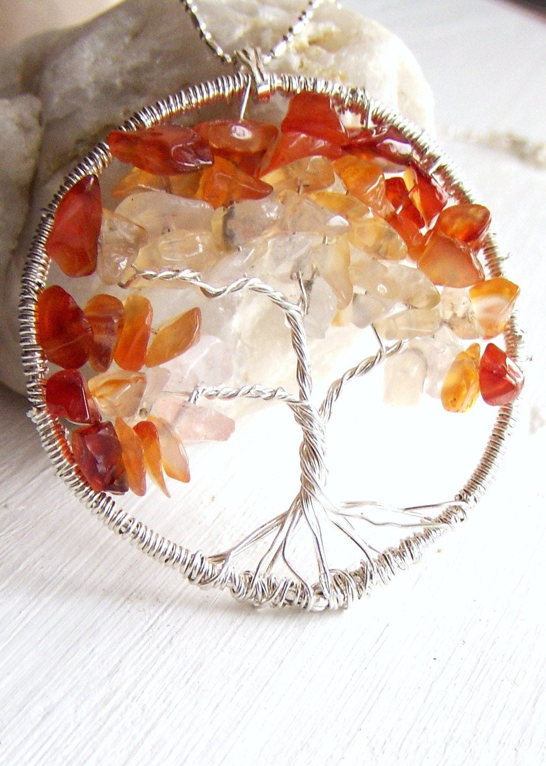 Tree of Life Necklace, Lineage, Family, Carnelian Tree, Sentimental Pendant.