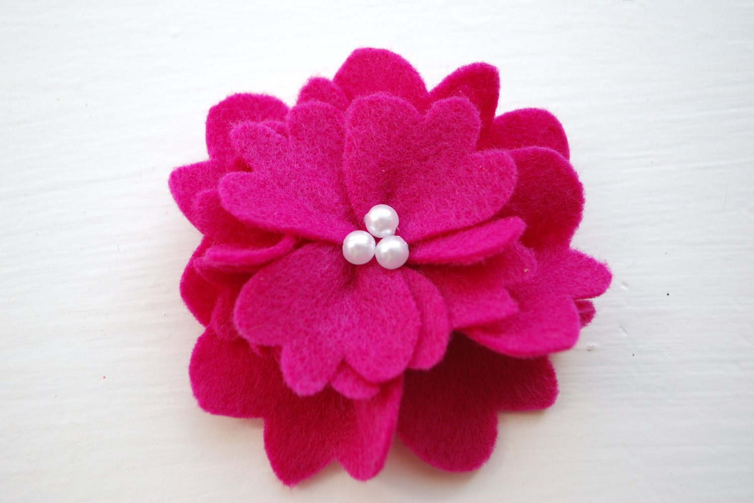 Spring Peony Flower Hair Clip in Bright Pink with Pearl Center, Available on a clip or your choice of Elastic Headbands