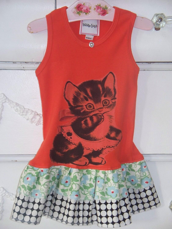 TANGERINE RETRO KITTY - Size womens xs up to xxl - RUFFLED TANK TOP