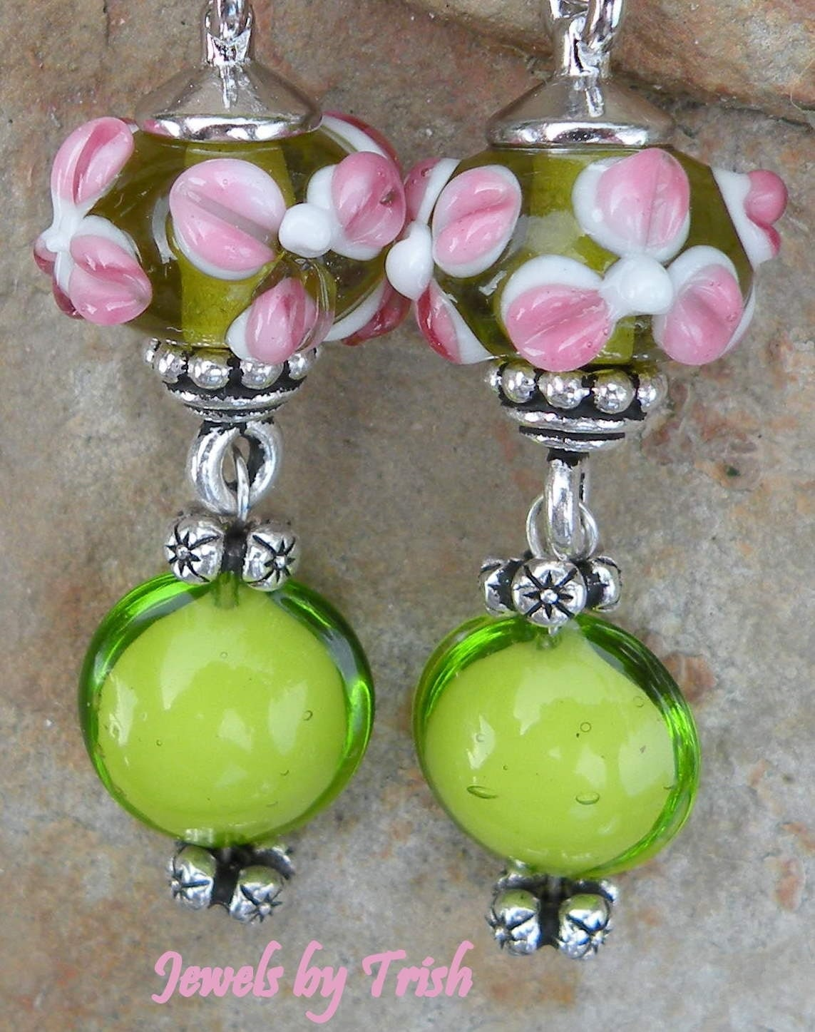 Pink and Green Flower Lampwork Glass Dangle Earrings