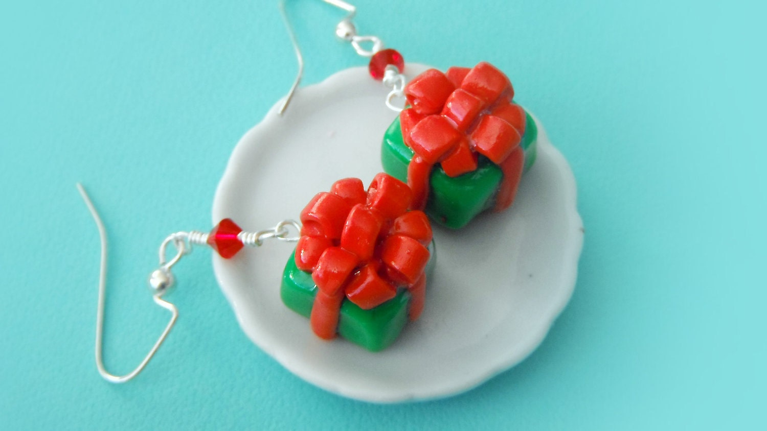 Polymer Clay Miniature Food Jewelry - Christmas Present Holiday Earrings with Swarovski Elements glass beads