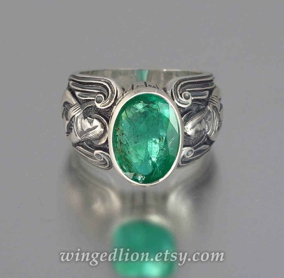 GUARDIAN ANGELS Mens silver ring with Emerald sizes by WingedLion