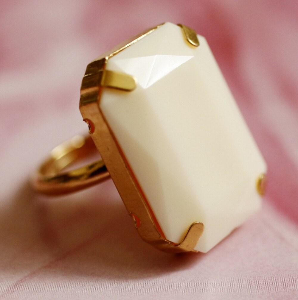 milky rectangle ivory diamond ring
