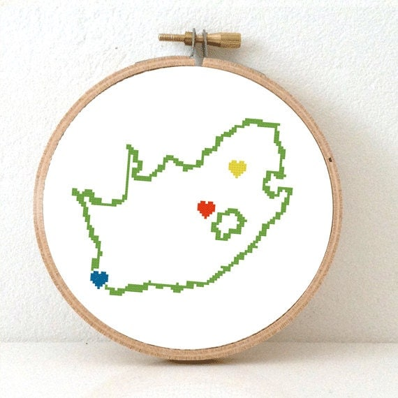 South africa map cross stitch pattern by koekoek