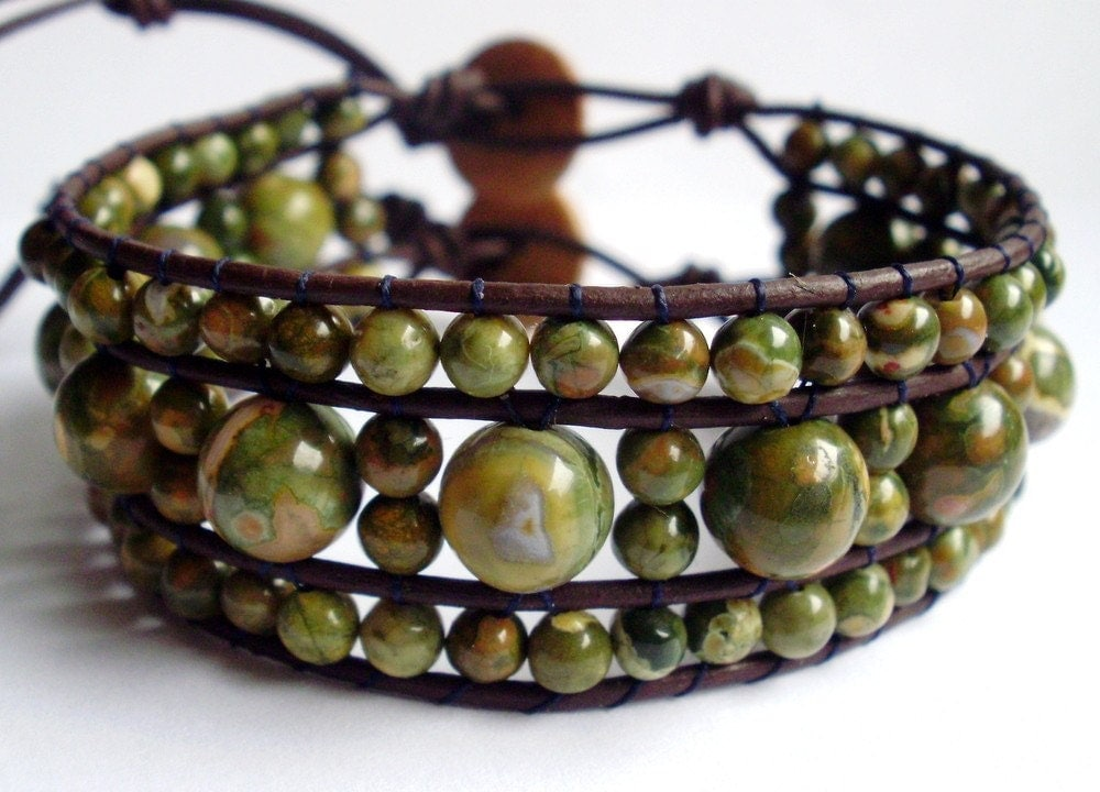 Rhyolite and leather woven bracelet by KindStones on Etsy from etsy.com