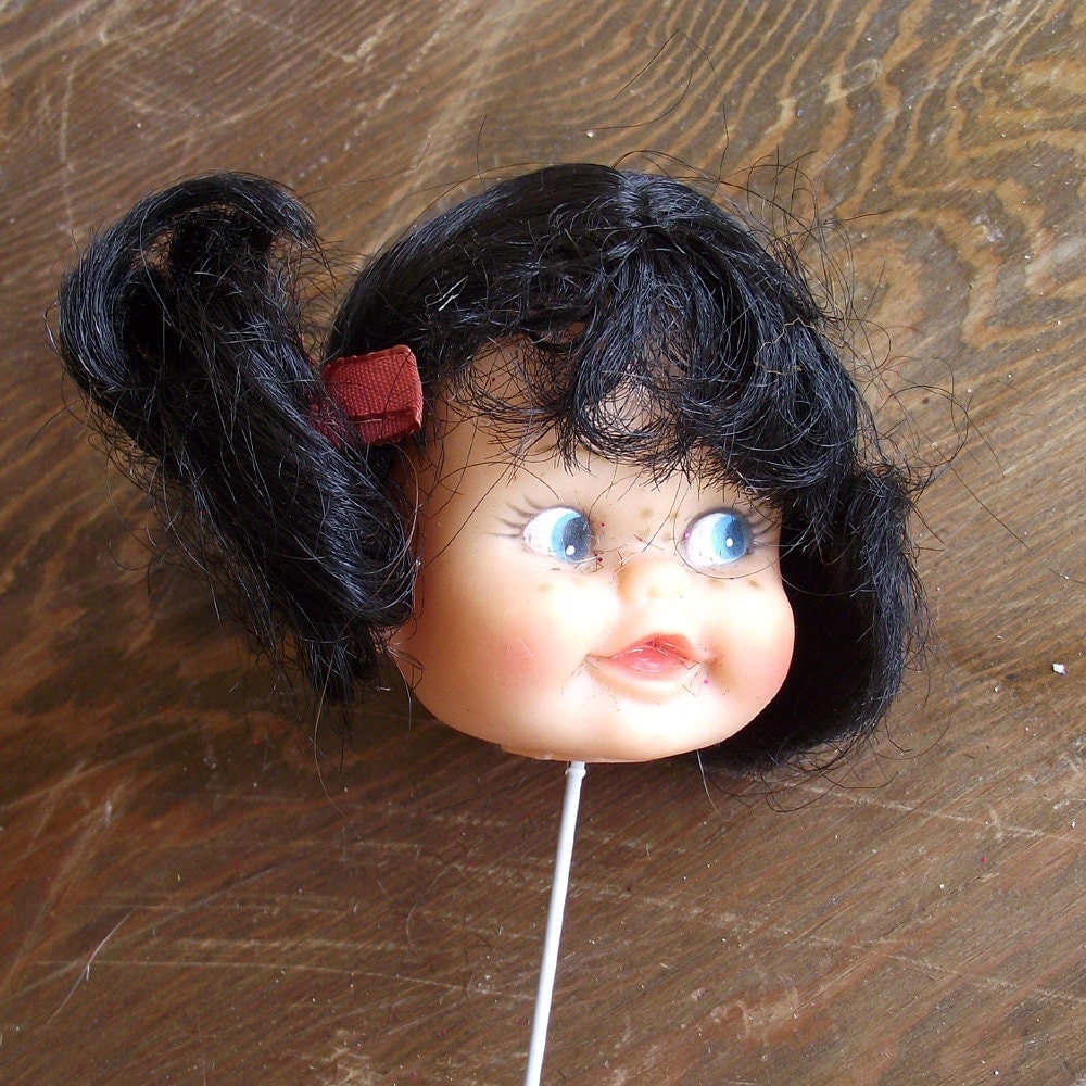 Vintage Doll Head Brunette with Blue Eyes (14)