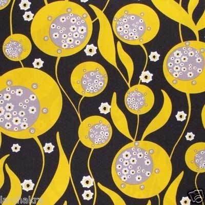 Alexander Henry Yellow Black Coriander Fabric 1 Yard