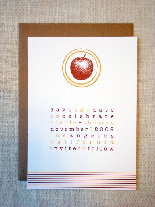 SAMPLE - APPLE SKETCH Save the Date Card