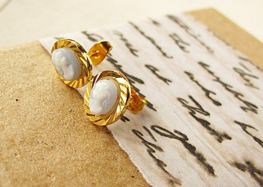 Tiniest Cameo Alice Blue Post Earrings White Oval Victorian Gold Stud