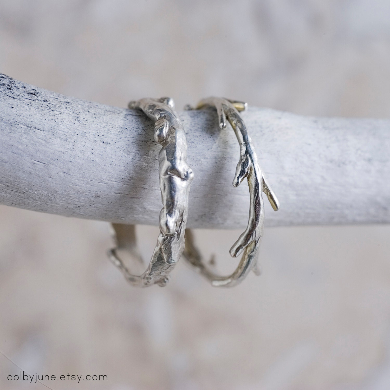 Sterling Silver Twig Ring | Stacking Ring | Nature Inspired Ring - ColbyJuneJewelry