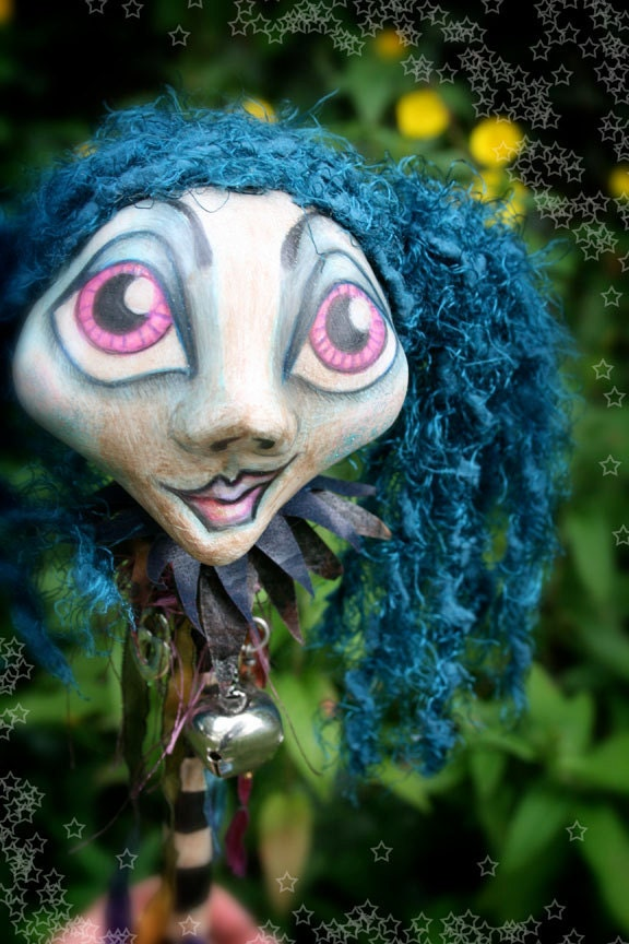 Special of the Day - Drusilla the The Ghost Girl - OOAK Art Doll Jester Stick