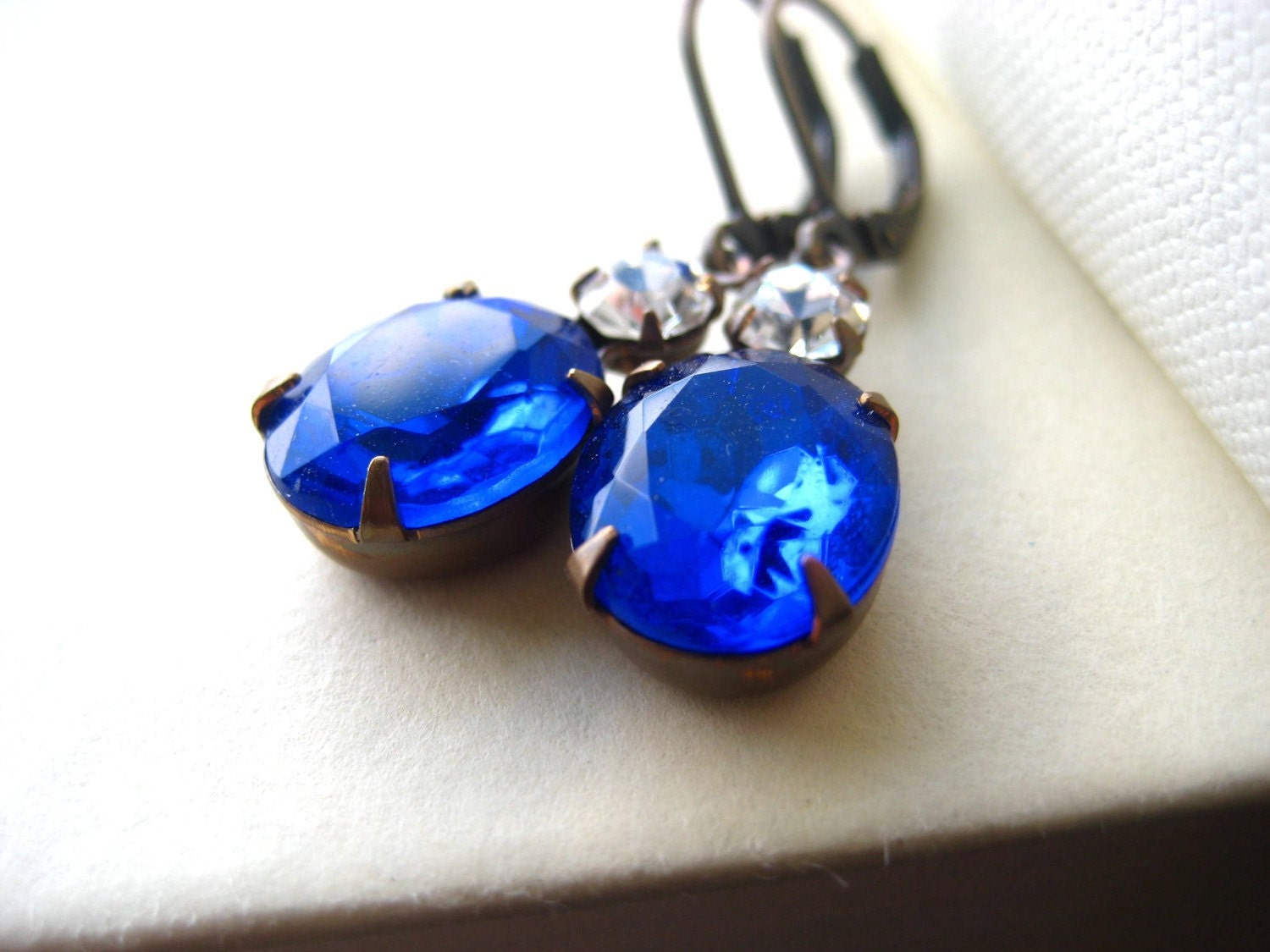 Estate Style Blue Rhinestone Earrings - cobalt, vintage inspired, wedding, bridesmaid gift, antique brass, oval, tagt team