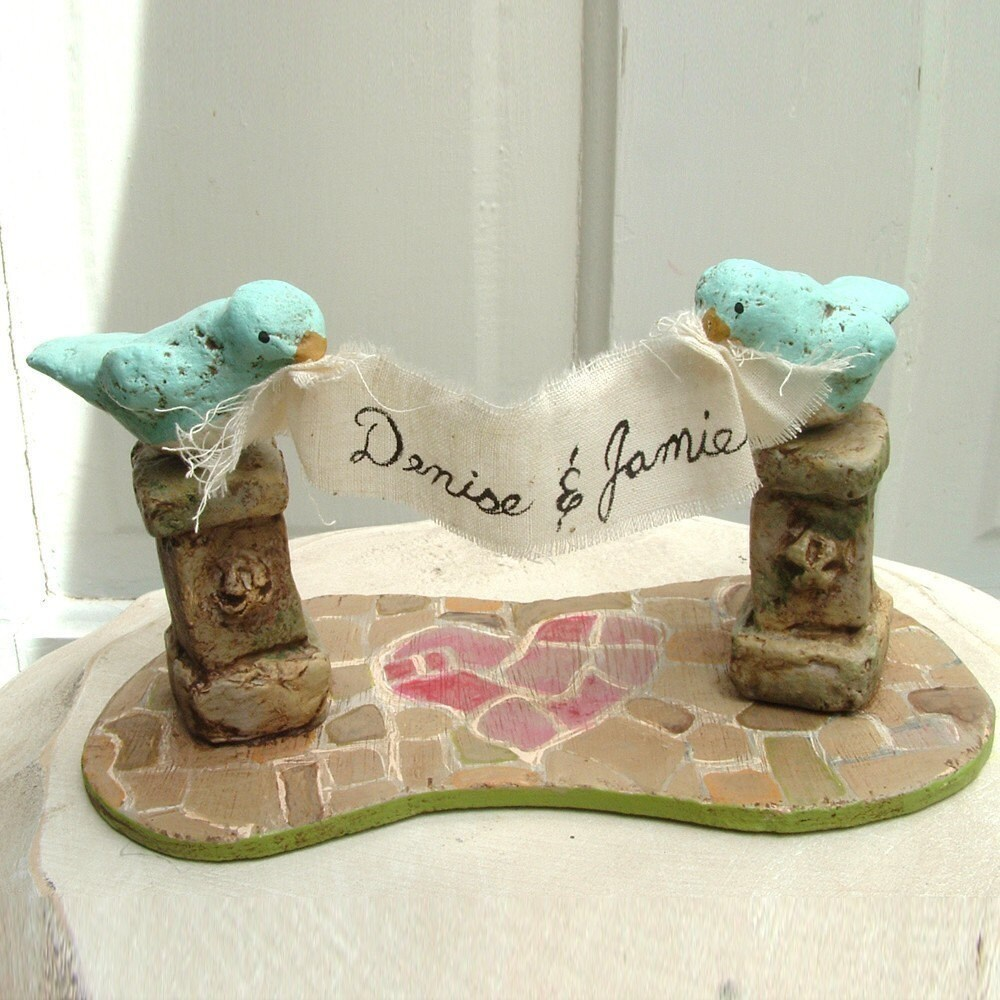 Love Birds in the Garden Cake Topper with Blue Birds