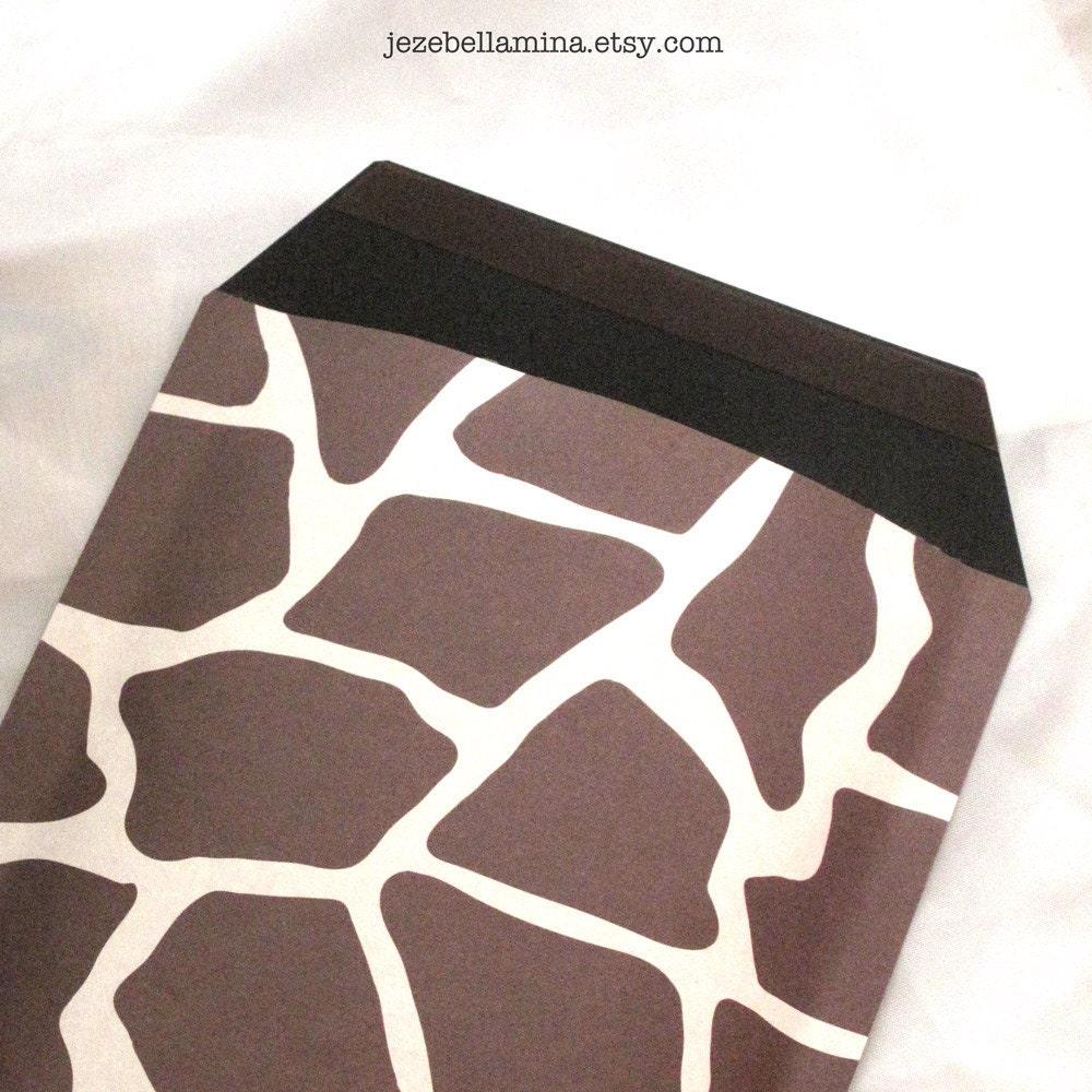 Handmade decorative padded bubble mailer/ envelope, giraffe animal print