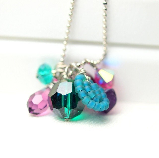 Amethyst, teal and fuchsia long necklace