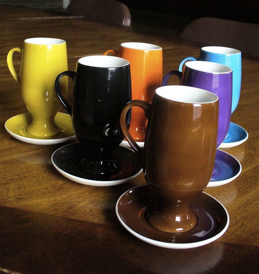 Multi-colored, 60s MOD, complete set, coffee or espresso mugs, by Lagardo Tackett, mint condition