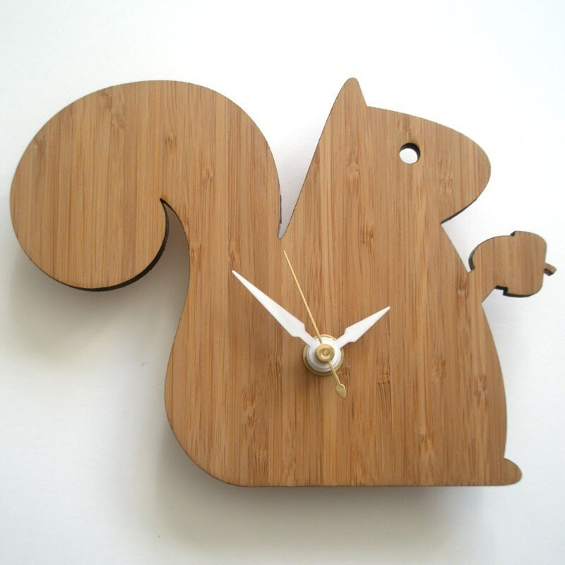 Modern Baby Clock - Squirrel