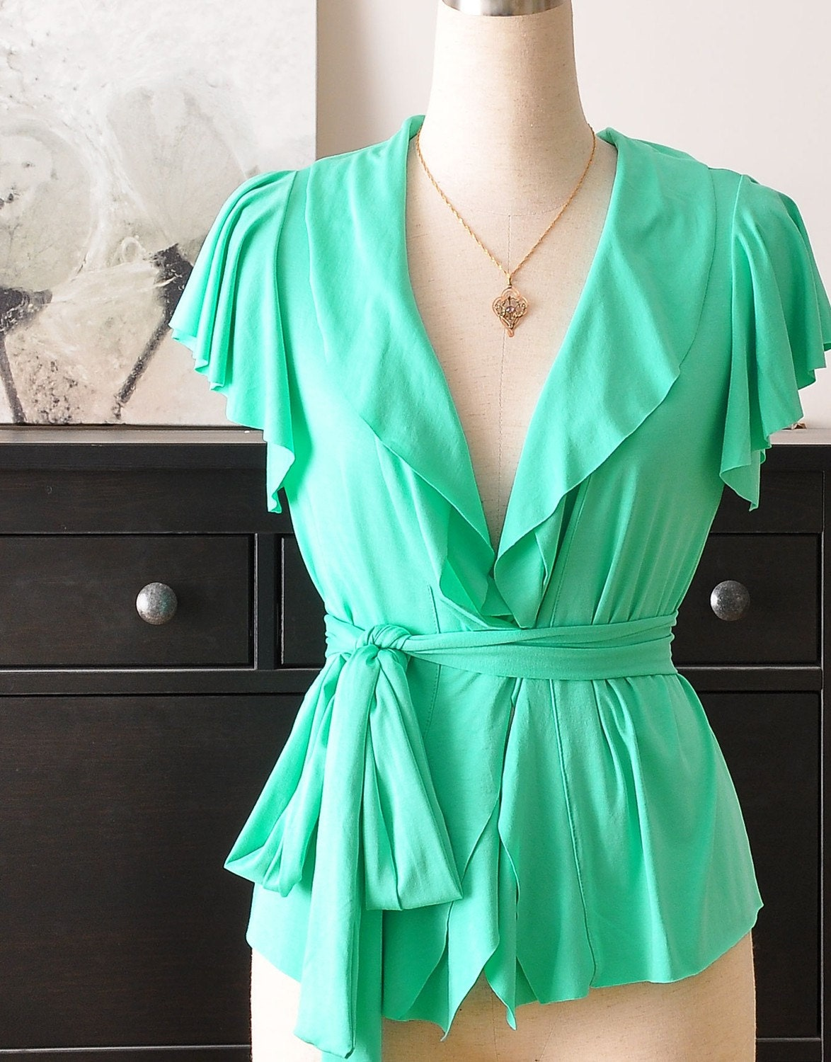 Romantic Wrap Top In Light Green (Long Ruffled Sleeve)