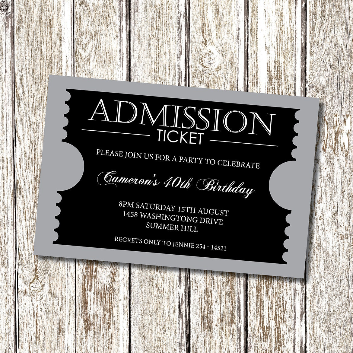 prom ticket template