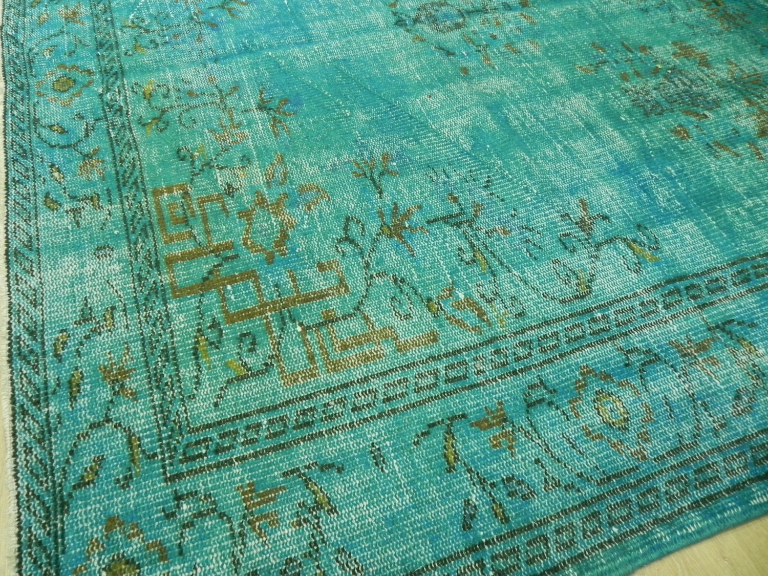 ON SALE - 6.6x10.2 Ft (210x310 cm) - Turquoise Blue OVERDYED Vintage Handmade Turkish Rug, wool & cotton - WeMakeRugs