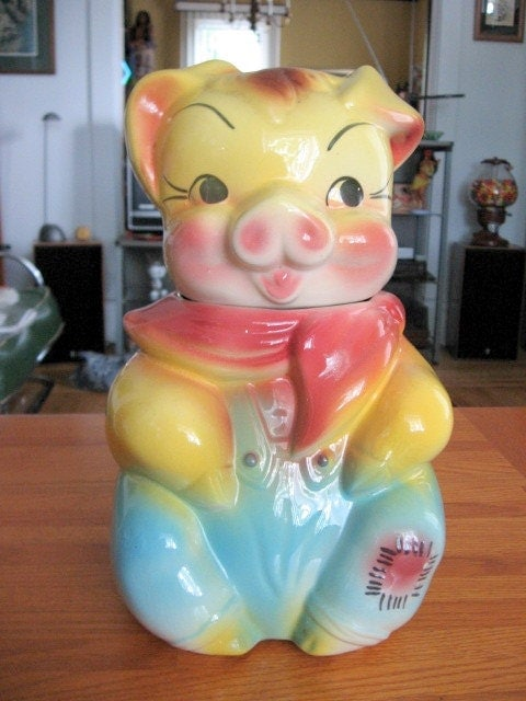 1940s American Bisque Ceramic Pig Cookie Jar By Toysnsuch