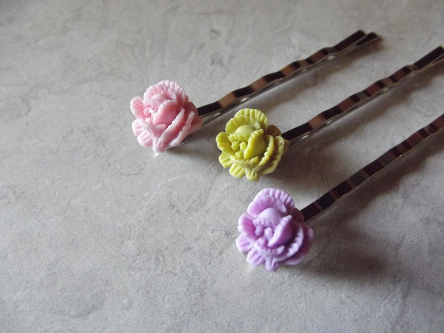 Flower Hair Pins, Pink, Green, Lavender
