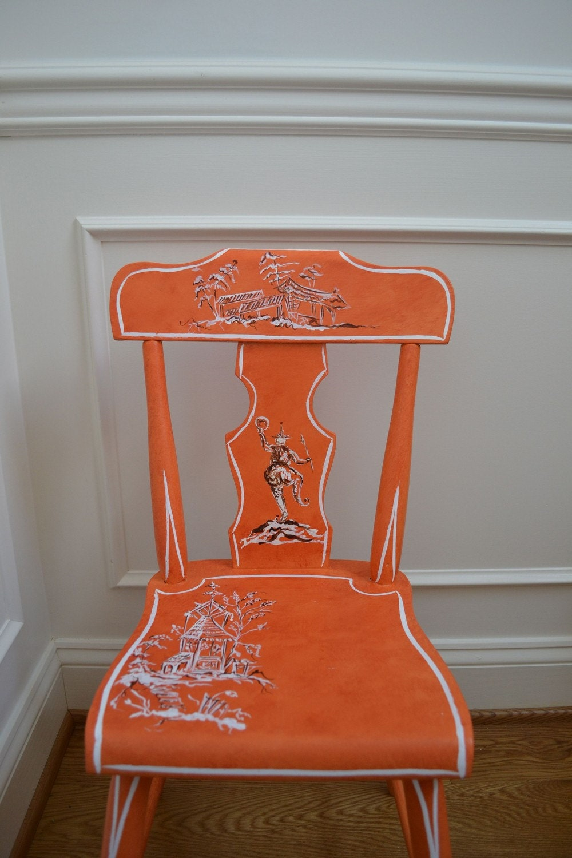 Orange chinoiserie  child's chair