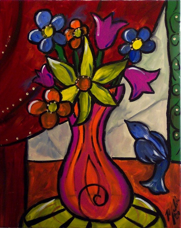 Vase Of Flowers Still Life Original Painting