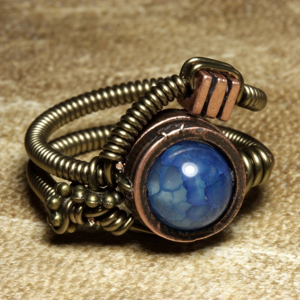 Blue Fire Agate Steampunk Ring by Catherinette Rings