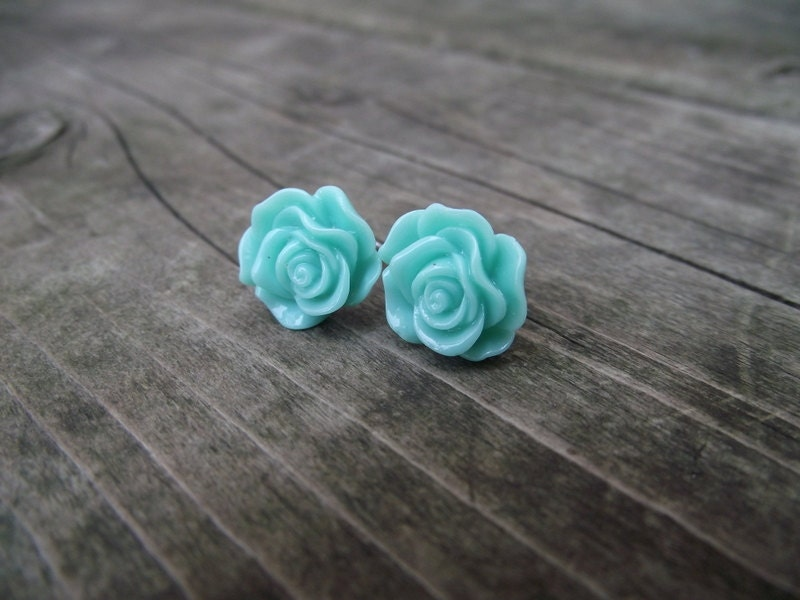 GLOSSY ROSE EARRINGS - Mermaid
