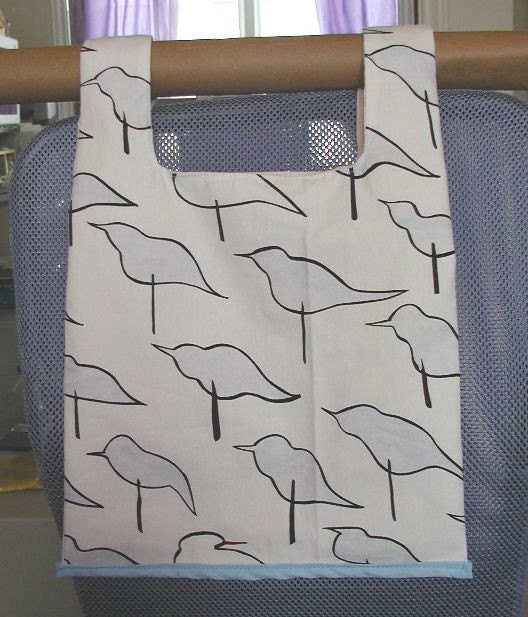 Cute Light Blue Birds Shopping Bag Purse with Pocket Eco Friendly Size Medium