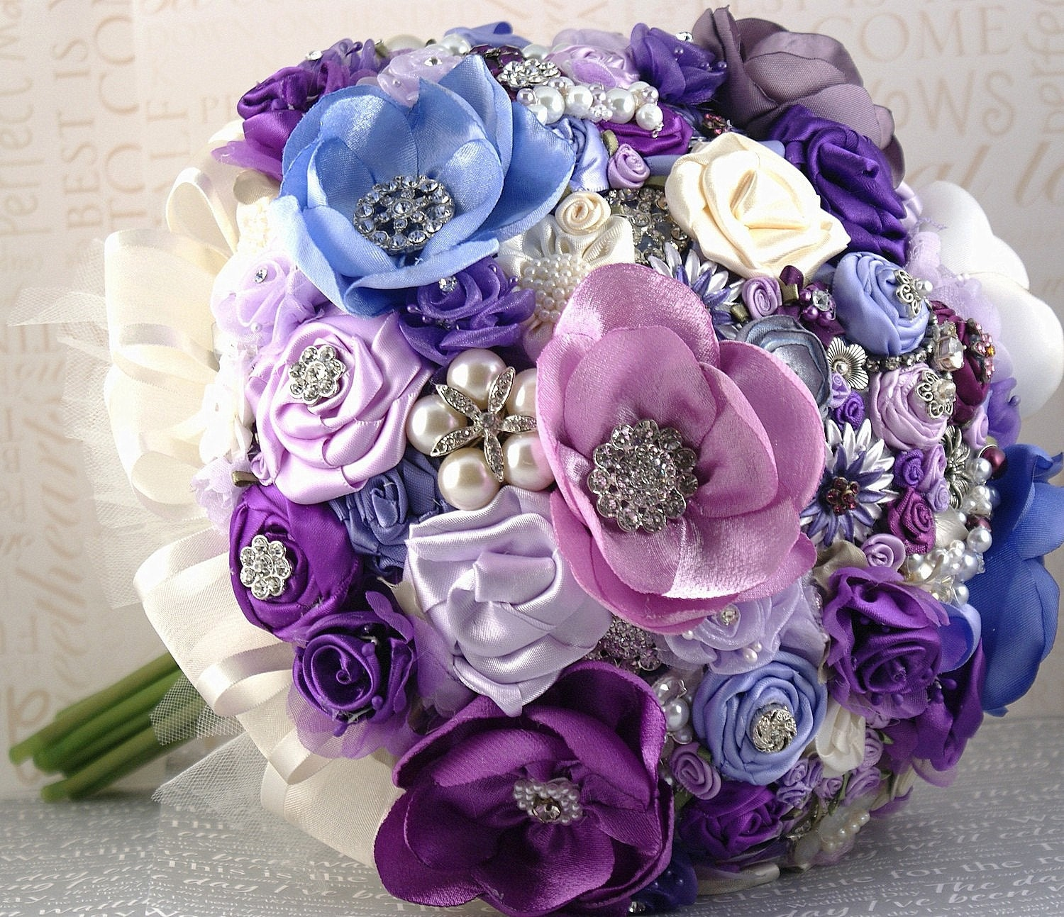 Brooch Bouquet Jeweled Bouquet Wedding Bouquet in Purple, Periwinkle, Lilac and Cream