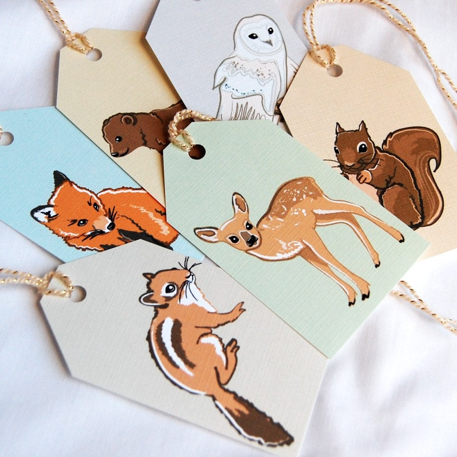 Woodsy Sparkle Gift Tags - Set of 6