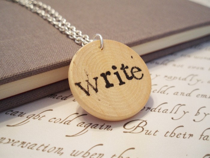 Hand Stamped Write Necklace in Typewriter Font
