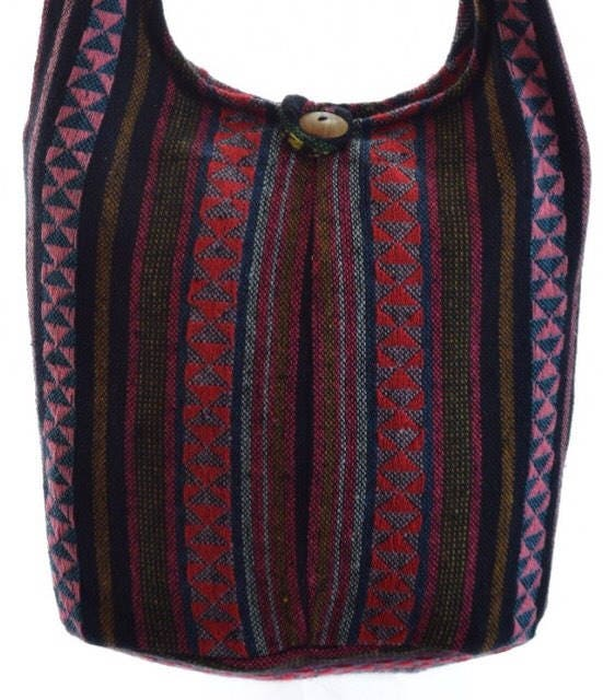 Woven cotton shoulder bag.Hobo bag MessengerHippie Gypsy SlingHippy Hobo CrossbodyMedium
