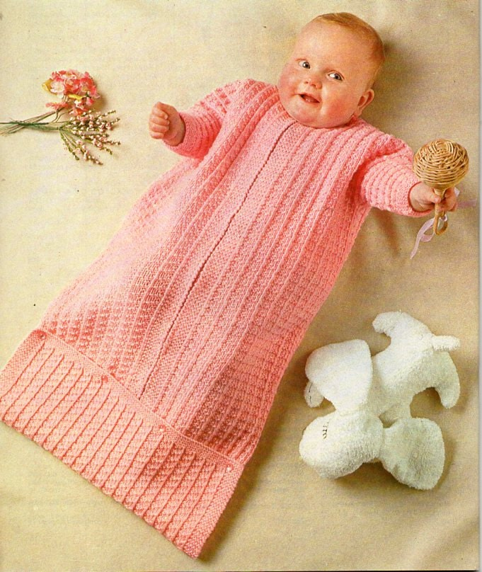 vintage baby sleeping bag knitting pattern pdf baby cocoon pram nest DK light worsted 8ply pdf instant download
