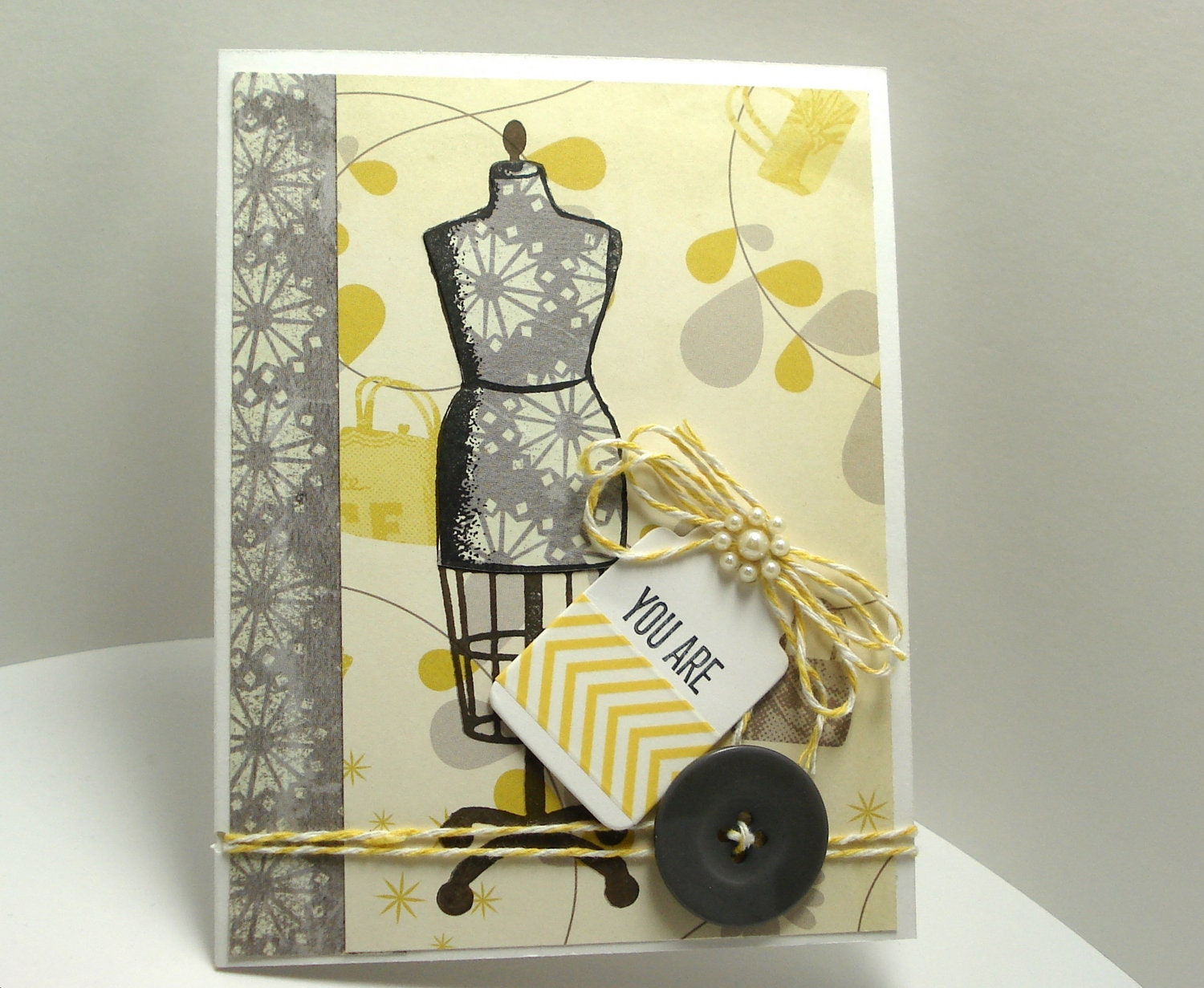 Etsygreetings handmade cards hand stamped greeting card dress form hand stamped greeting card dress form yellow gray all occasion m4hsunfo