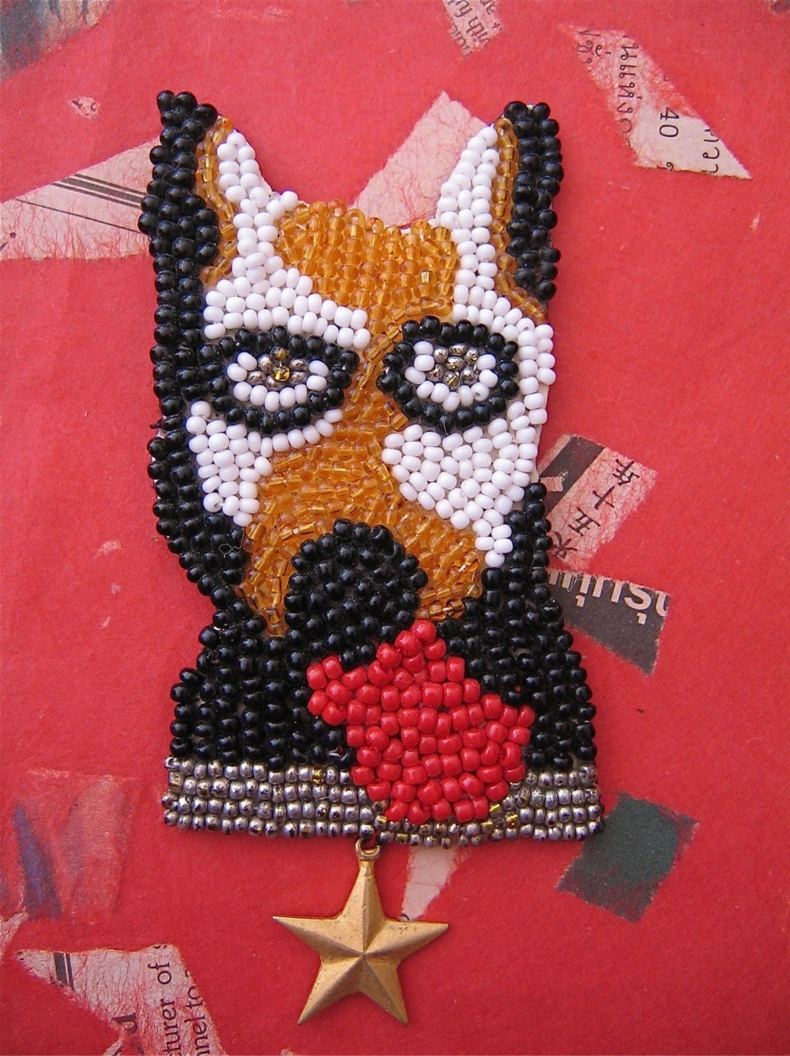 Fido the Star Dog Beaded Pin